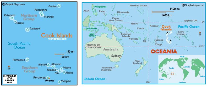 L'archipel des îles Cook, en Polynésie occidentale ©Graphicmaps.com