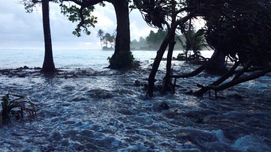 Les insulaires du Pacifique sont les premiers touchés par la montée des eaux. Ici, les îles Bikini, qui ont déjà demandé asile aux Etats-Unis ©Giff Johnson / AFP