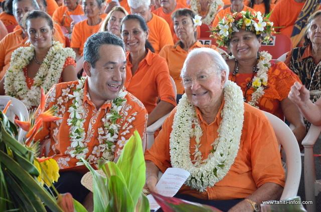 Durant ce Congrès, Gaston Flosse, fondateur du Tahoeraa Huira'atira, a été réélu président du parti. Il a par la suite nommé son président délégué Marcel Tuihani, également président de l'Assemblée de Polynésie ©Tahiti-Infos
