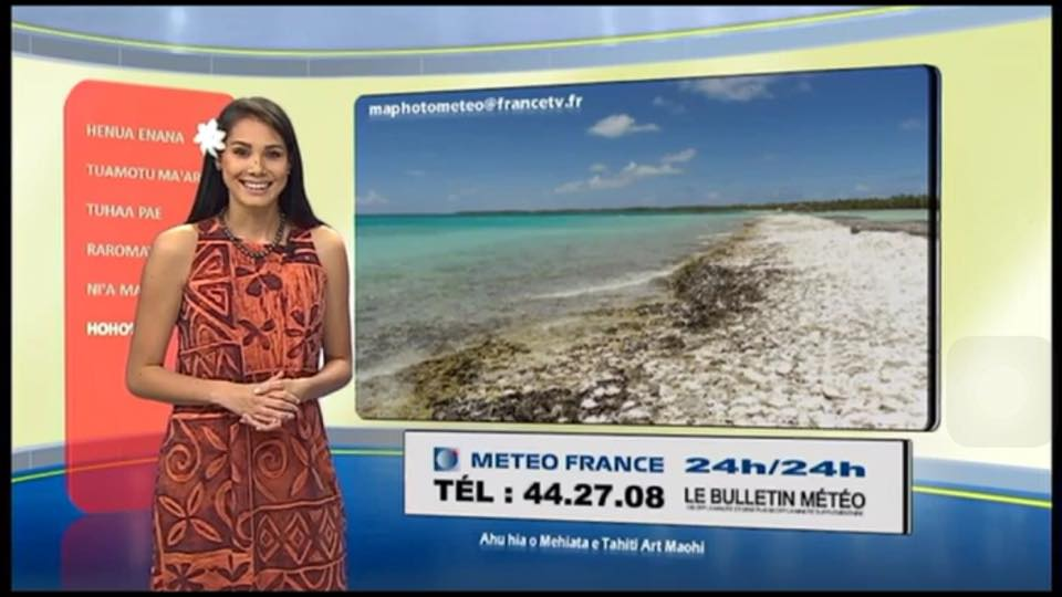 Depuis cette anne, la belle présente la météo sur Polynésie 1ère, peut être le début d'une longue carrière dans l'audiovisuel ©DR
