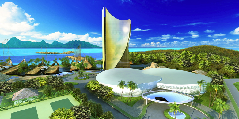 """Le complexe hôtelier Tahiti Mahana Beach a soulevé beaucoup de doutes et de questionnement, depuis 2 ans, quant à faisabilité. Edouard Fritch assure qu'il ira """"jusqu'au bout"""" ©Forebase"""