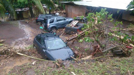Certains habitants ont du évacuer, des maisons emportées par les rivières, d'autres inondées par la boue ©Taua Moarii