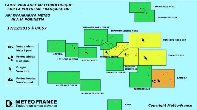 Vigilance orange sur les archipels des Tuamotu et Gambier ©Météo France