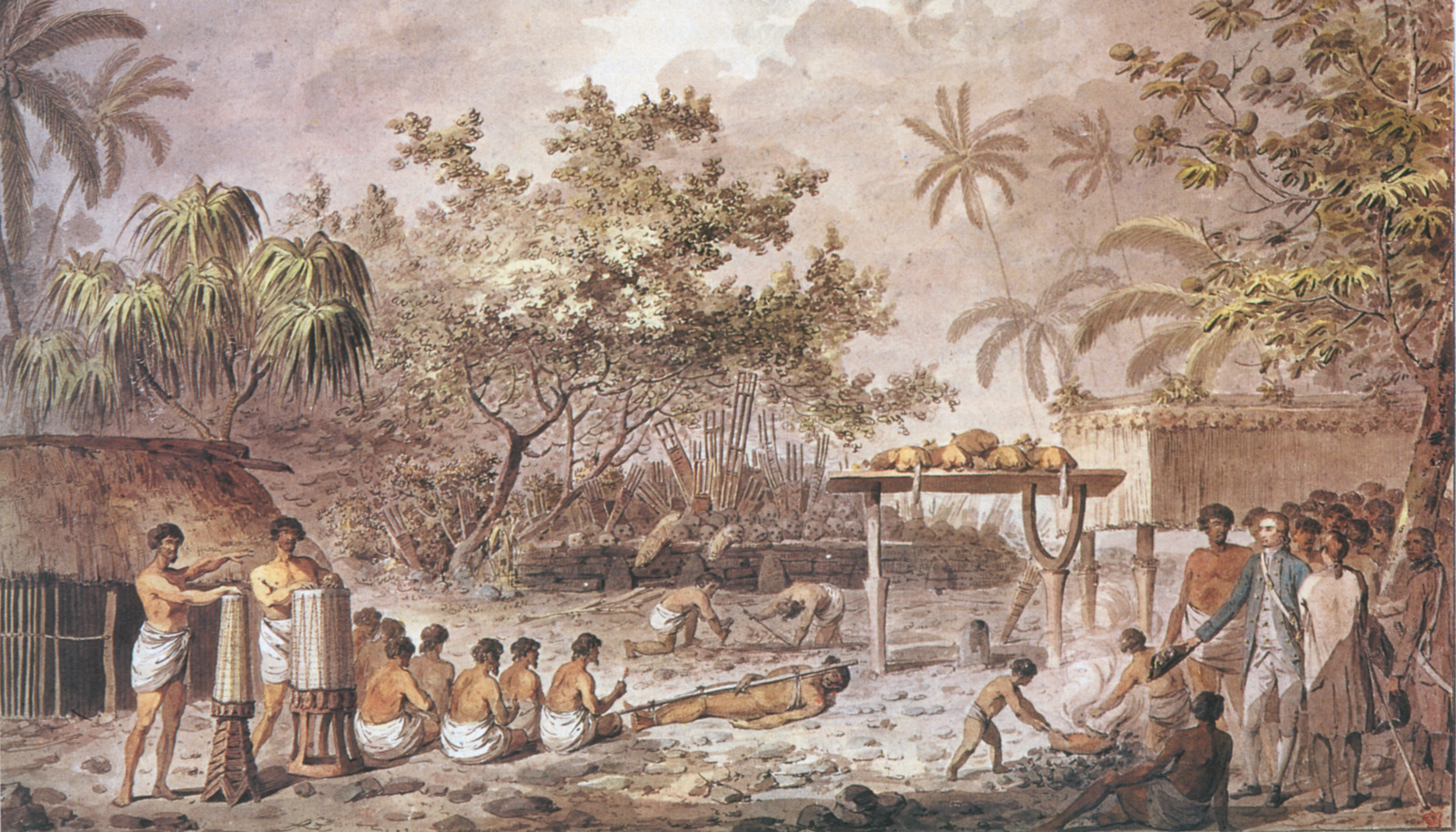 "Le capitaine James Cook assiste à un sacrifice humain sur un ""marre"" (temple) tahitien ©DR"