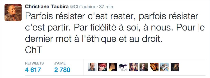 Christiane Taubira s'est exprimé sur Twitter au sujet de sa démission, toujours avec une finesse dans l'expression qui manquera au gouvernement ©Capture écran