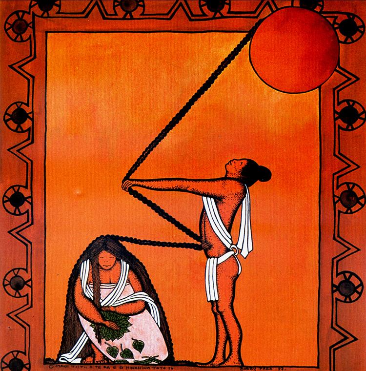 Tableau de Bobby Holcomb, représentant le guerrier Maui qui attrapa le Soleil grâce à une corde magique, tissée avec la chevelure de Hina, sa fiancée ©Bobby Holcomb