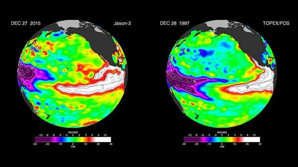 El Nino en décembre 2015 contre El Nino en décembre 1997 ©NASA