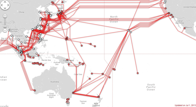 Sur cette image, on voit bien le potentiel que représenterais un câble sous-marin reliant l'Amérique du Sud à l'Asie, en passant par la Polynésie ©Submarinecablemap