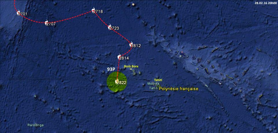 La trajectoire très aléatoire de 93P ©Infos Cyclones