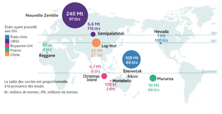 Carte des essais nucléaires dans le monde ©Irsn.fr
