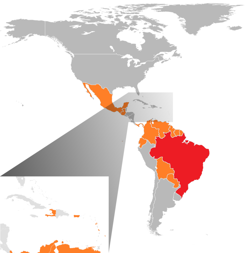 Début 2016, l'Amérique centrale et du sud ainsi que la zone Caraïbe fait face à une épidémie de Zika. Un an auparavant, la Polynésie française était sous les feux du virus, en même temps que le chikungunya ©Baptiste GrandGrand / Wikipédia images