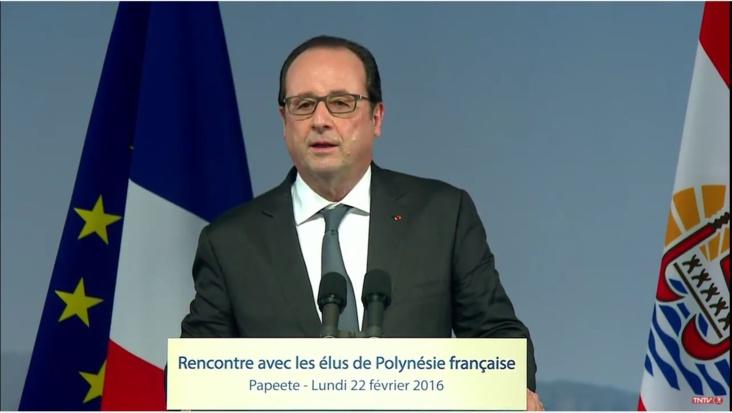 François Hollande en février 2016 devant les élus de la Polynésie française ©TNTV