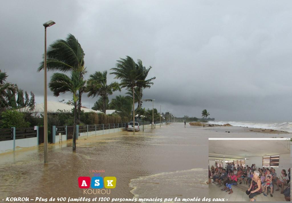 © ASK (Actualité sur Kourou) Ce lundi 22 février 2016 dans l'après-midi, la mer dans les secteurs du Village Amérindien et de l'Anse était très agitée. Elle a inondé les maisons situées à l'avenue de l'Anse.