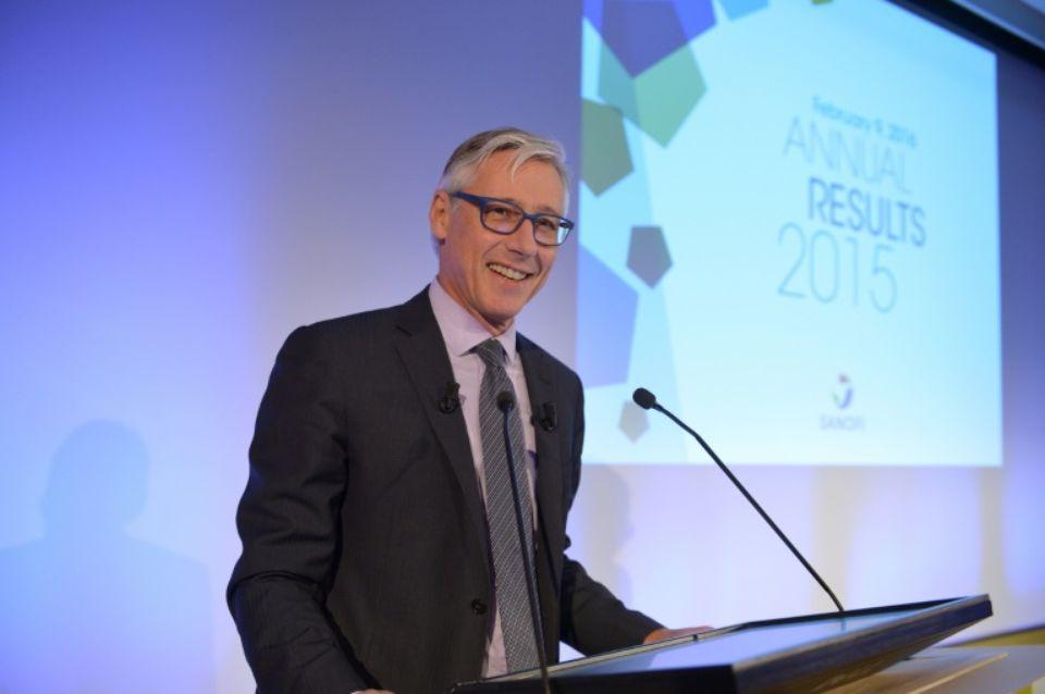 Olivier Brandicourt, Directeur général du groupe Sanofi, lors de la conférence des résultats annuels du groupe ©Eric Piermont / AFP
