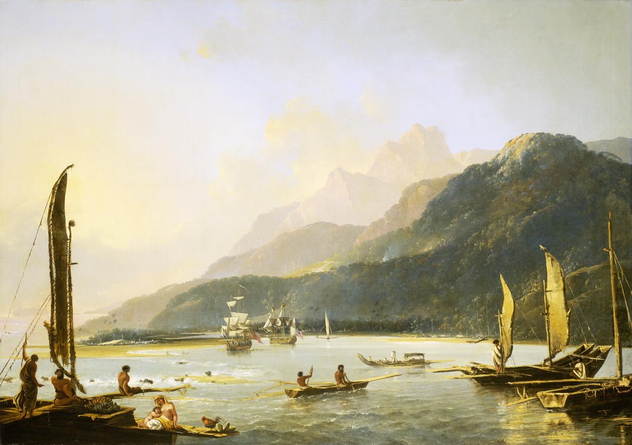 1.Les navires de James Cook, «Resolution» et «Adventure» dans la baie de Matavai à Tahiti, par William Hodges ©DR
