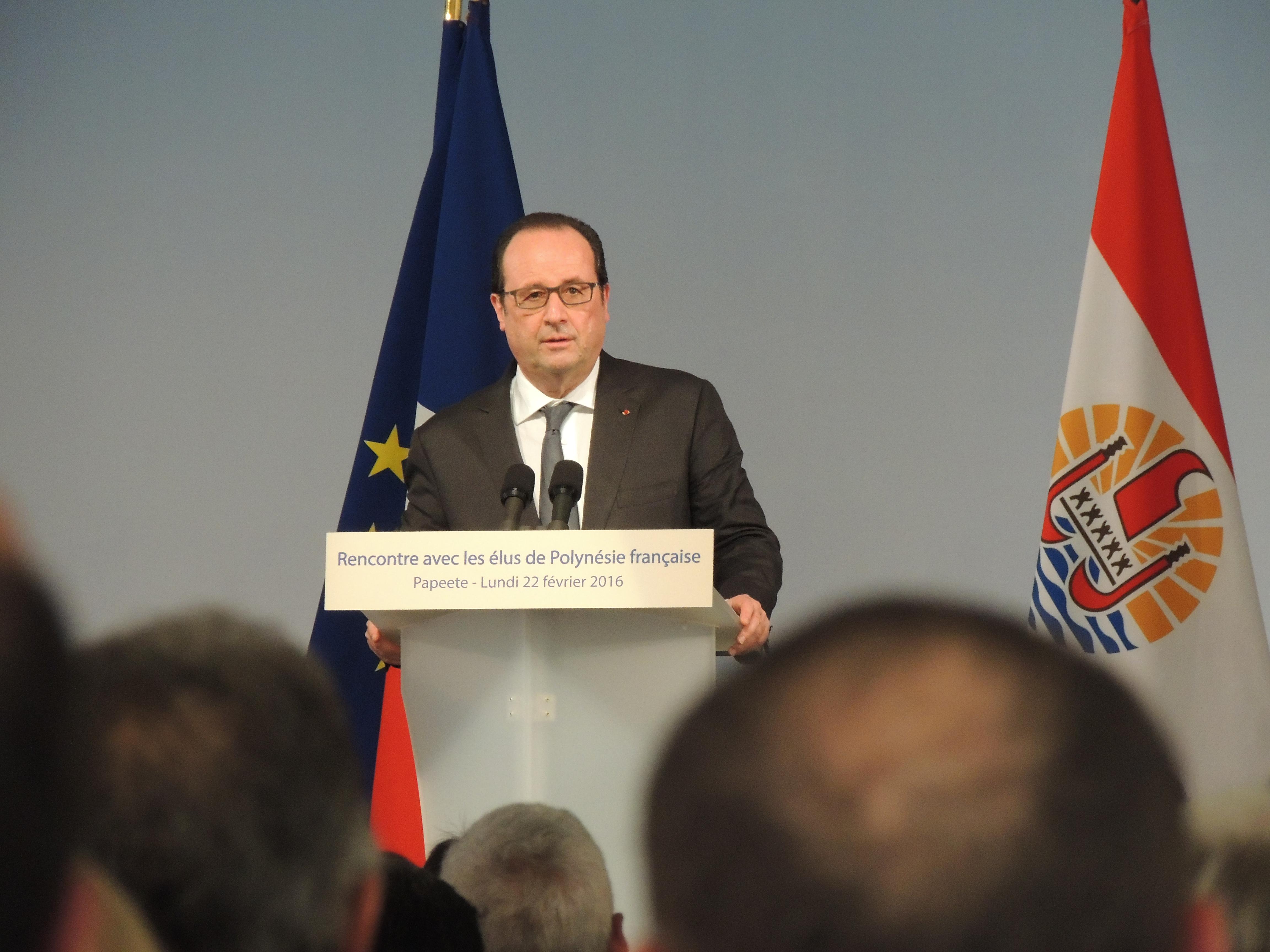 Discours de François Hollande devant les élus de la Polynésie française, pendant lequel il reconnait les conséquences des essais nucléaires ©Tahiti-infos