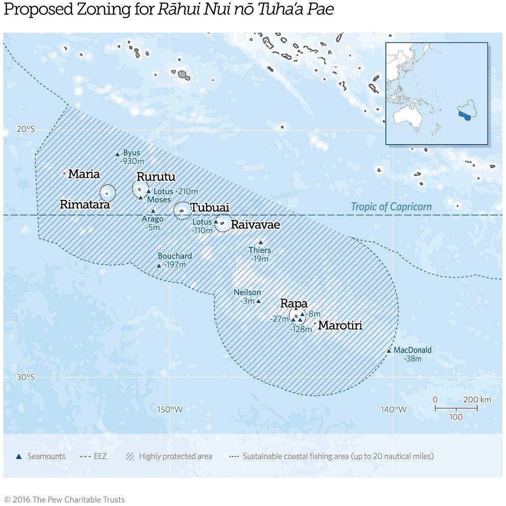 Le projet Rahui Nui no Tuha'a Pae veut protéger un million de km² d'aire marine de toute pêche ©The Pew Charitable Trust