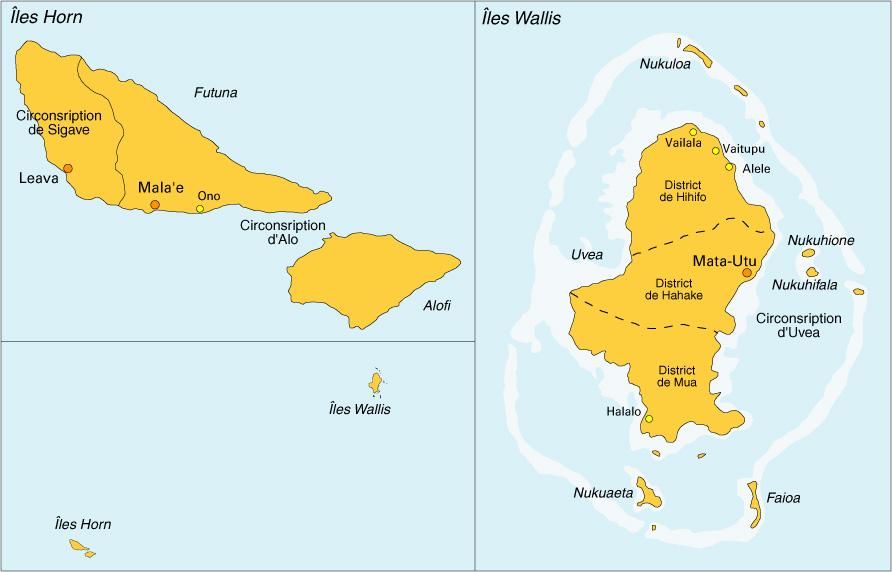 Wallis et Futuna est divisé en trois royaumes ; celui d'Uvéa à Wallis, de Sigave au Nord de Futuna et d'Alo comprenant le Sud de Futuna et l'île d'Alofi ©DR