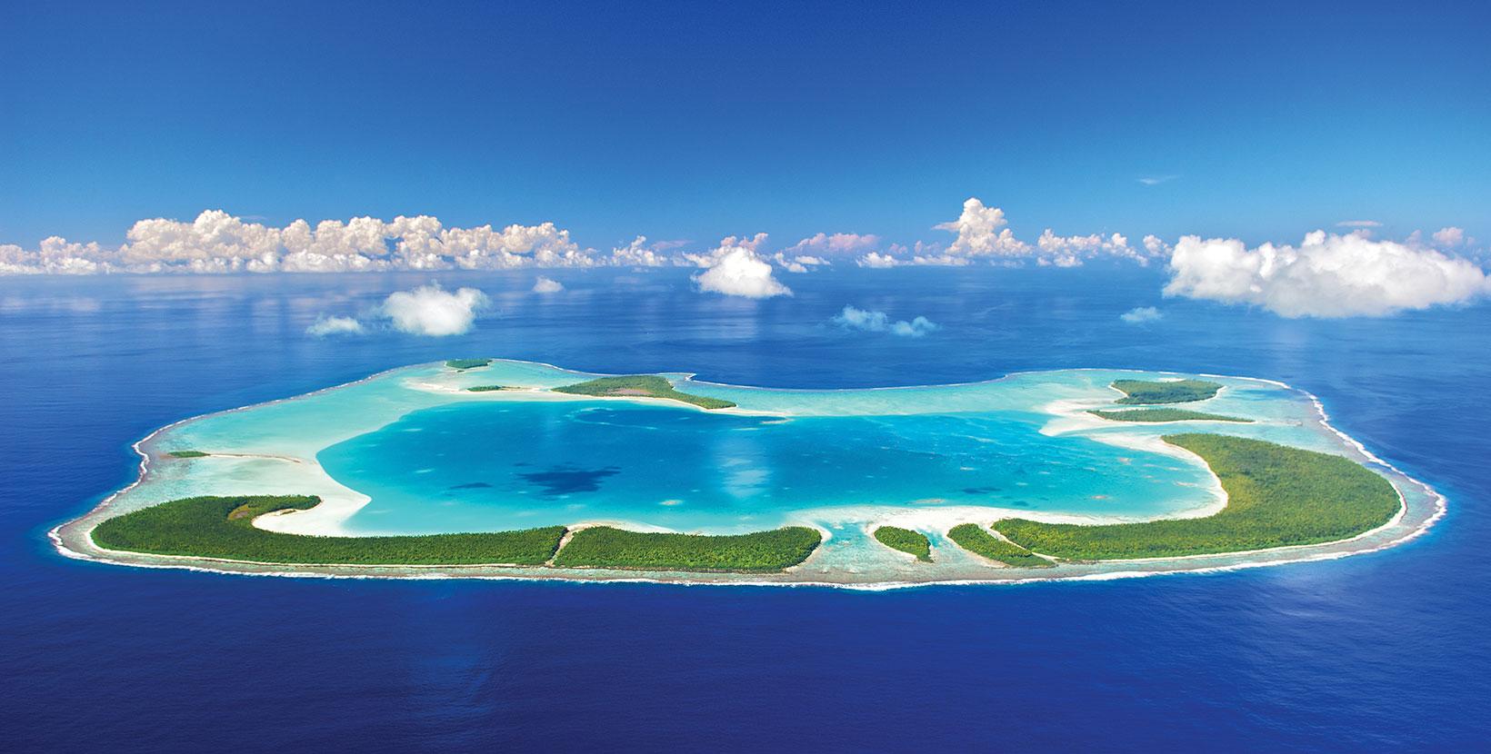 L'atoll de Tetiaroa à 53 km au Nord de Tahiti, acquis en 1966 par l'acteur Marlon Brando ©The Brando