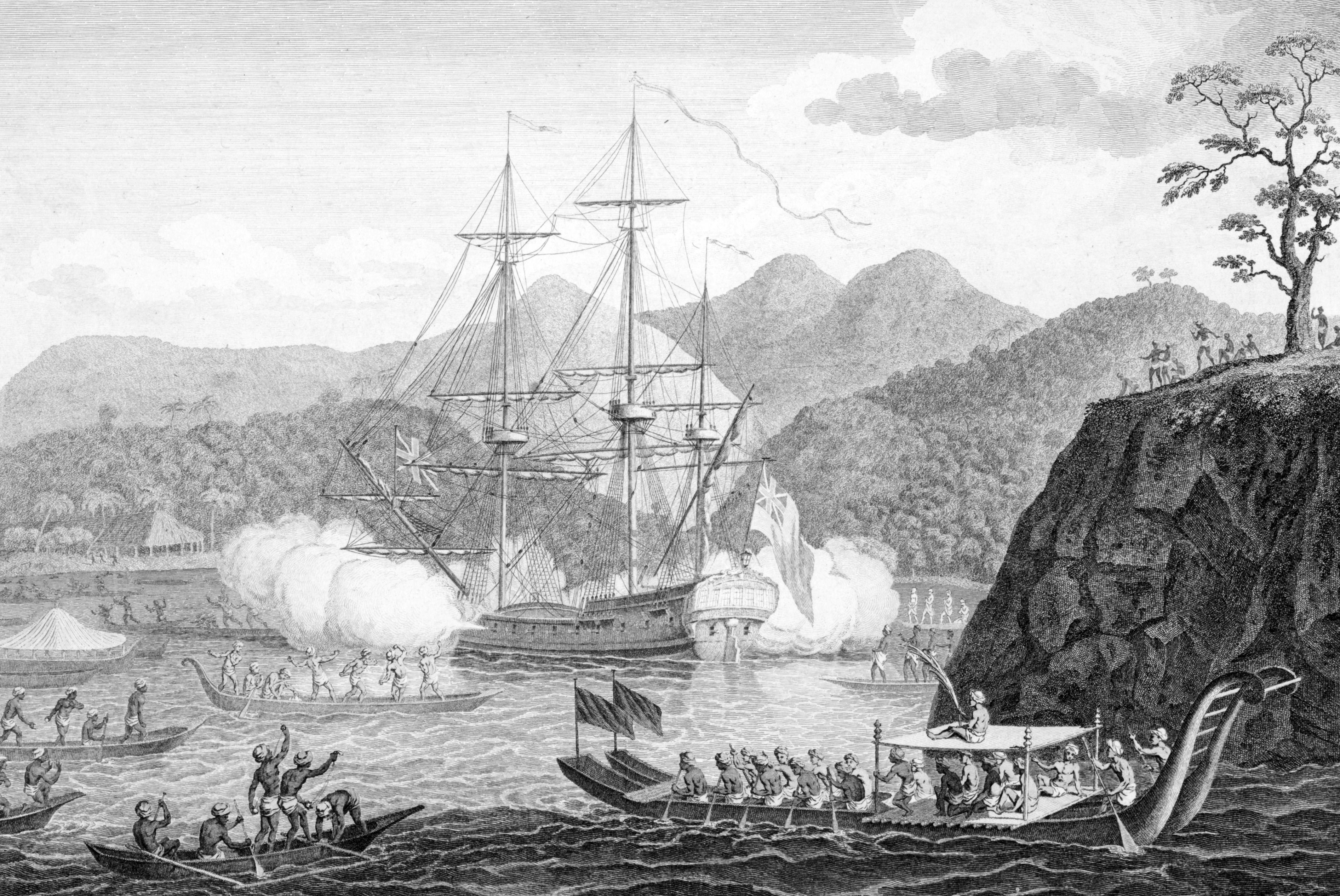 Les premiers contacts entre les Tahitiens et le capitaine Samuel Wallis ne furent pas paisibles et pacifiques. Ils donnèrent lieu à la construction du mythe de la Vahine, renforcé par les récits de voyages de Louis Antoine de Bougainville ©DR