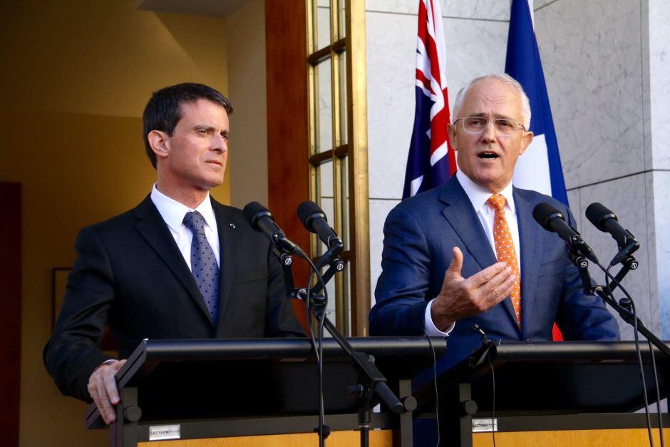 Manuel Valls et son homologue Malcolm Turnbull. Les deux Premiers ministres se sont félicités du contrat décroché par la DCNS ©Radio Australia