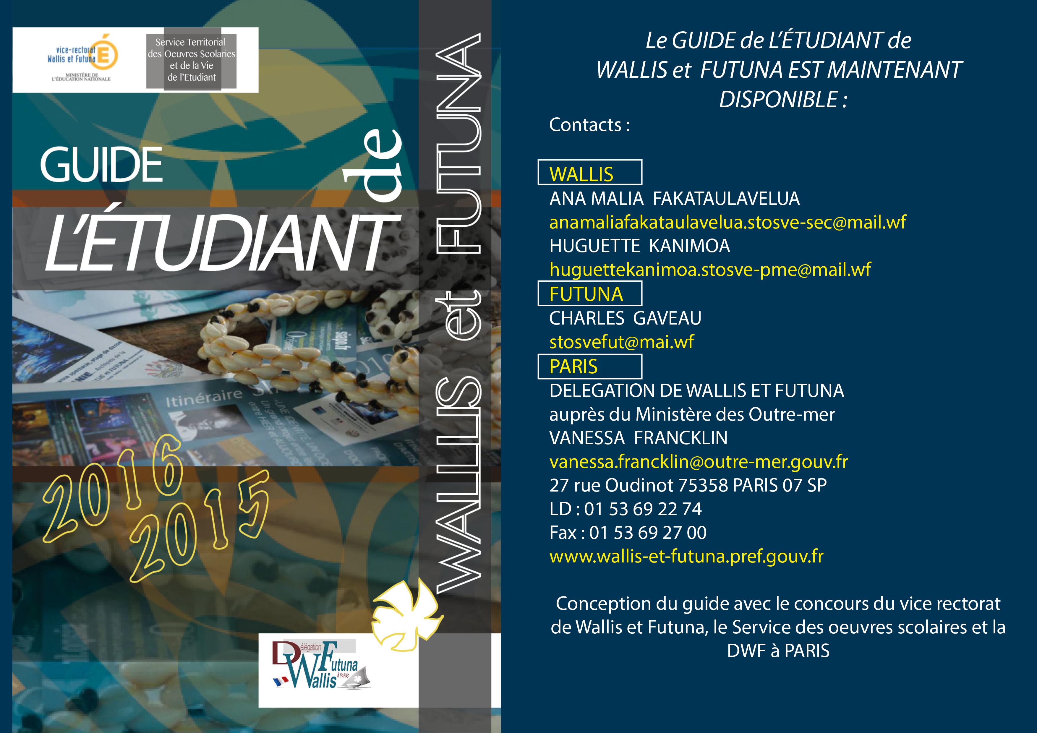 Ci-dessus, les contacts pour se procurer le guide l'étudiant de Wallis et Futuna