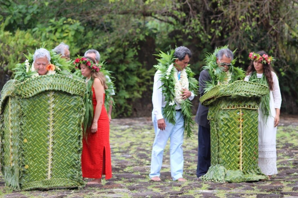 Les dirigeants polynésiens , l'an dernier, lors de la signature du PACT au Marae Taputapuatea ©DR