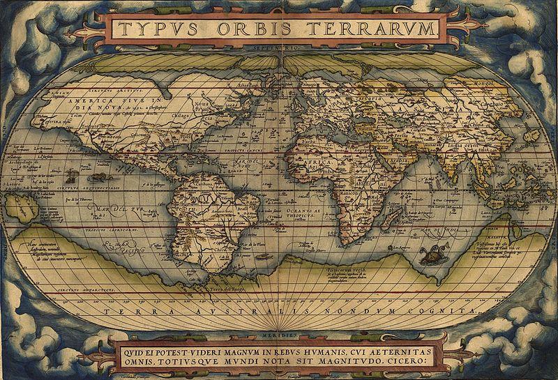 Planisphère d'Ortelius, 1570
