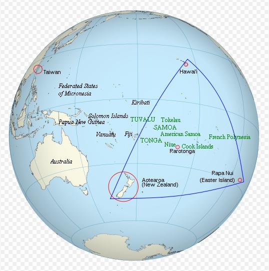 Le Triangle polynésien, avec en vert les Etats membres du PLG. Ceux en lettres capitales sont indépendants ©DR