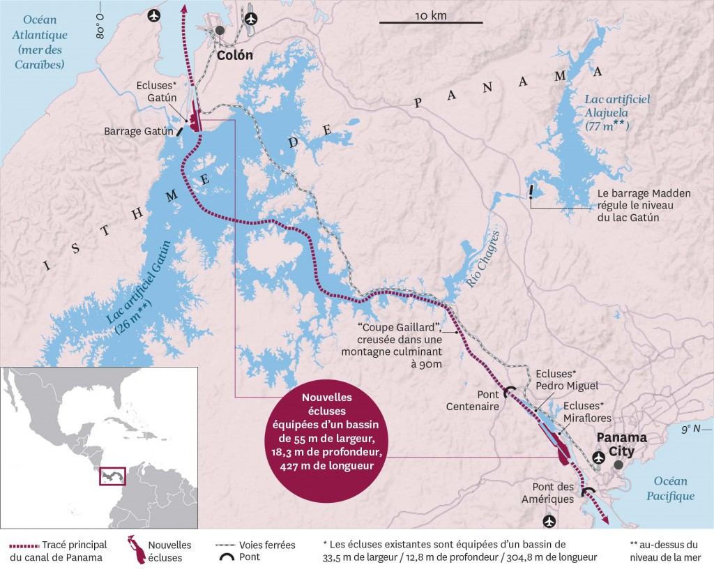 Le nouveau canal de Panama © Courrier International
