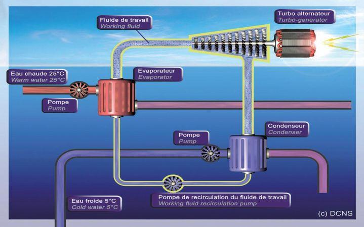Schéma d'exploitation de l'énergie thermique des mers ©DCNS