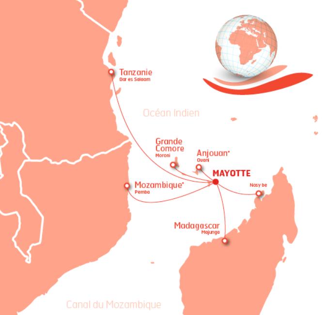 Les destinations opérées par Ewa Air. Avant la fin de l'année, la compagnie souhaite ouvrir une ligne vers Tananarive