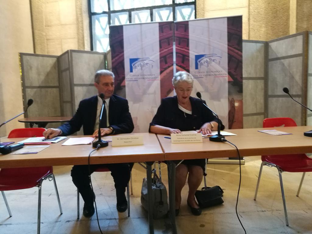 """Eveline Duhamel (à droite), Présidente de la section Aménagement du territoire rappelle que le CESE a été saisi """"dans un temps contraint"""" pour rendre son avis."""