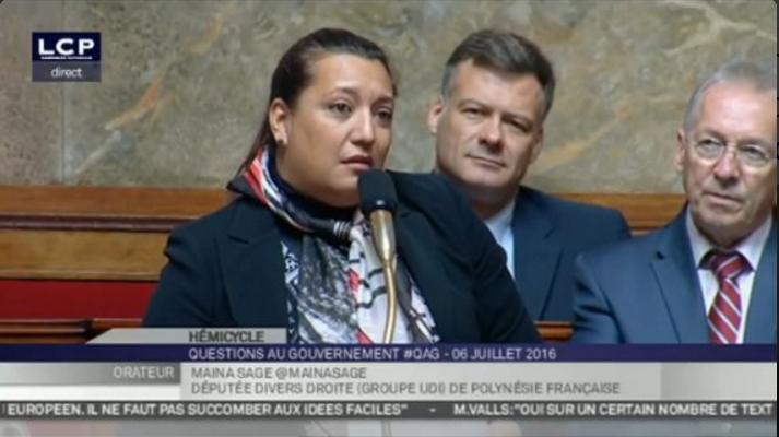 Maina Sage, député de la Polynésie française, a interpellé le gouvernement sur les engagement pris par le Président de la République ©Capture / Twitter LCP Sénat