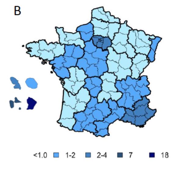 Le nombre de nouvelles infections par départements © ANRS