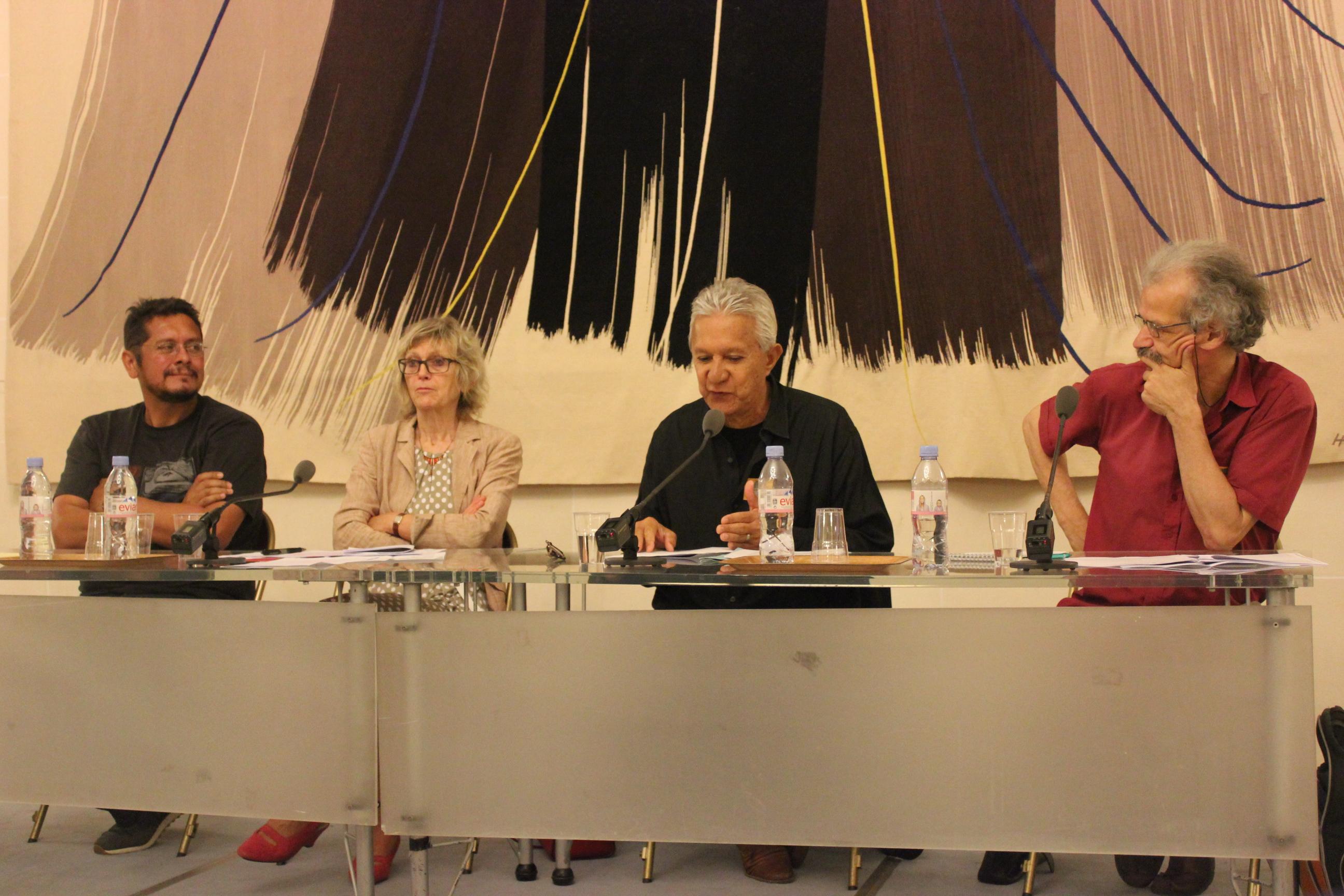 De gauche à droite: le Père Auguste Carlson, Aline Archimbaud, Roland Oldham et Philippe Bouveret ©T. Faatau / Outremers360