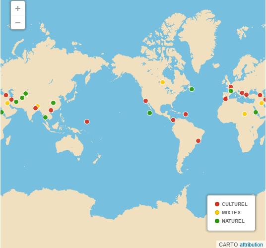 Répartition géographique des 27 aspirants 2016 au Patrimoine mondial de l'Humanité ©Le Monde