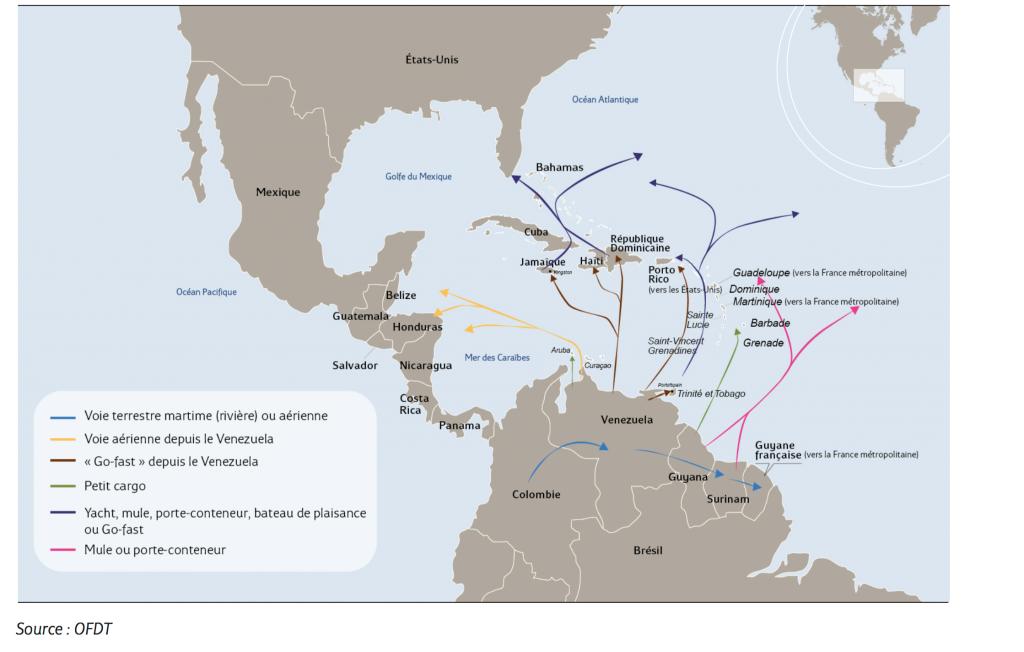 Les flux de cocaïne dans la mer des Caraïbes et vers la Guyane