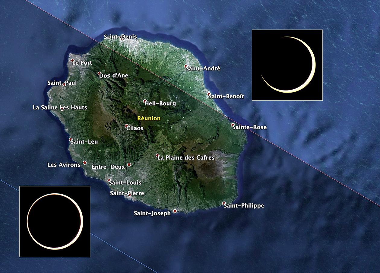 La Réunion sera l'un des principaux points d'observation de cette éclipse annulaire ©DR