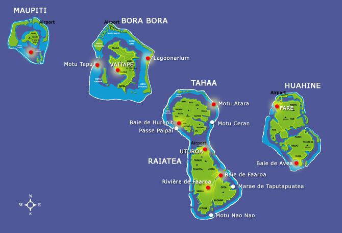 Tahaa est située dans le sous archipel des Îles-Sous-Le-Vent et dans l'archipel de la Société ©DR