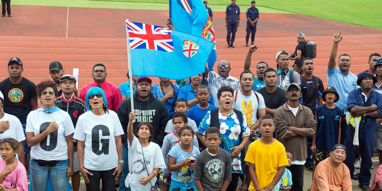 Les JO de 2016 ont permis de sauver le drapeau fidjien ©Feroz Khalil / AFP