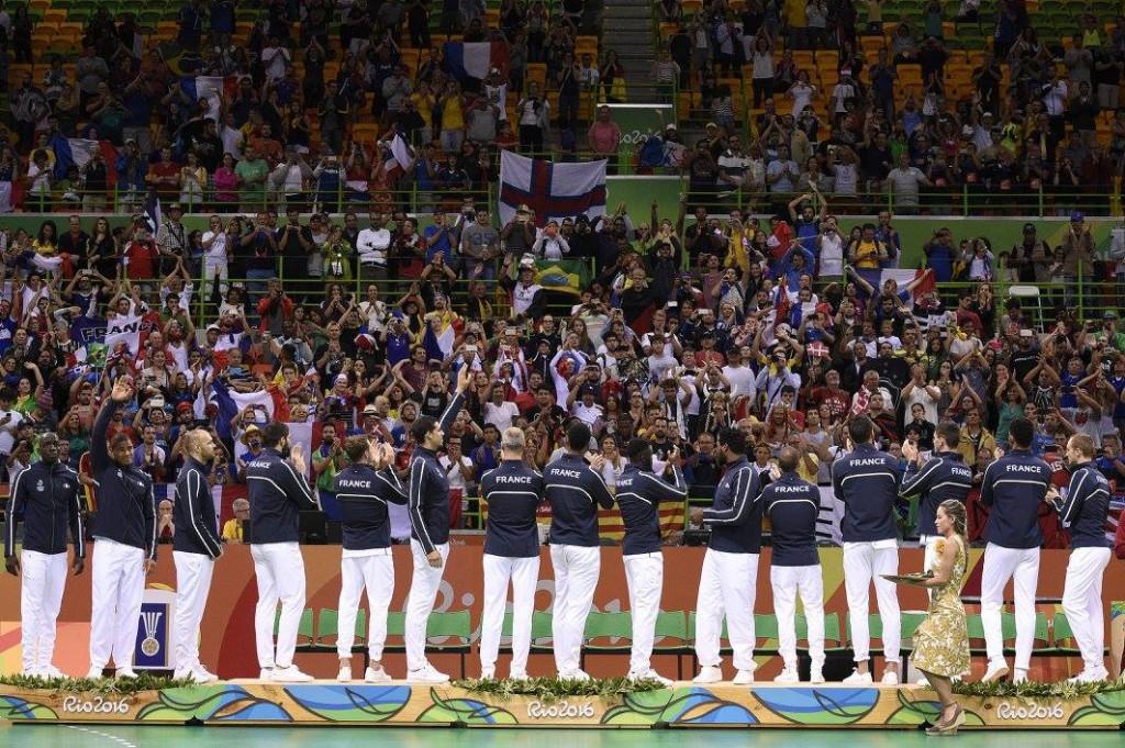 Les handballeurs français lors de la remise des médailles© France Olympique