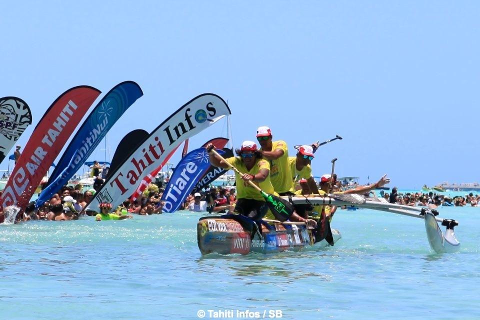 EDT Va'a remporte la troisième étape et s'offre ainsi trois années consécutives de victoire ©SB / Tahiti-infos