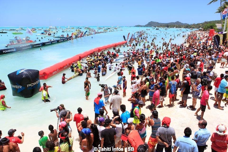 L'arrivée de la course sur la plage de Matira à Bora Bora ©Tahiti-infos