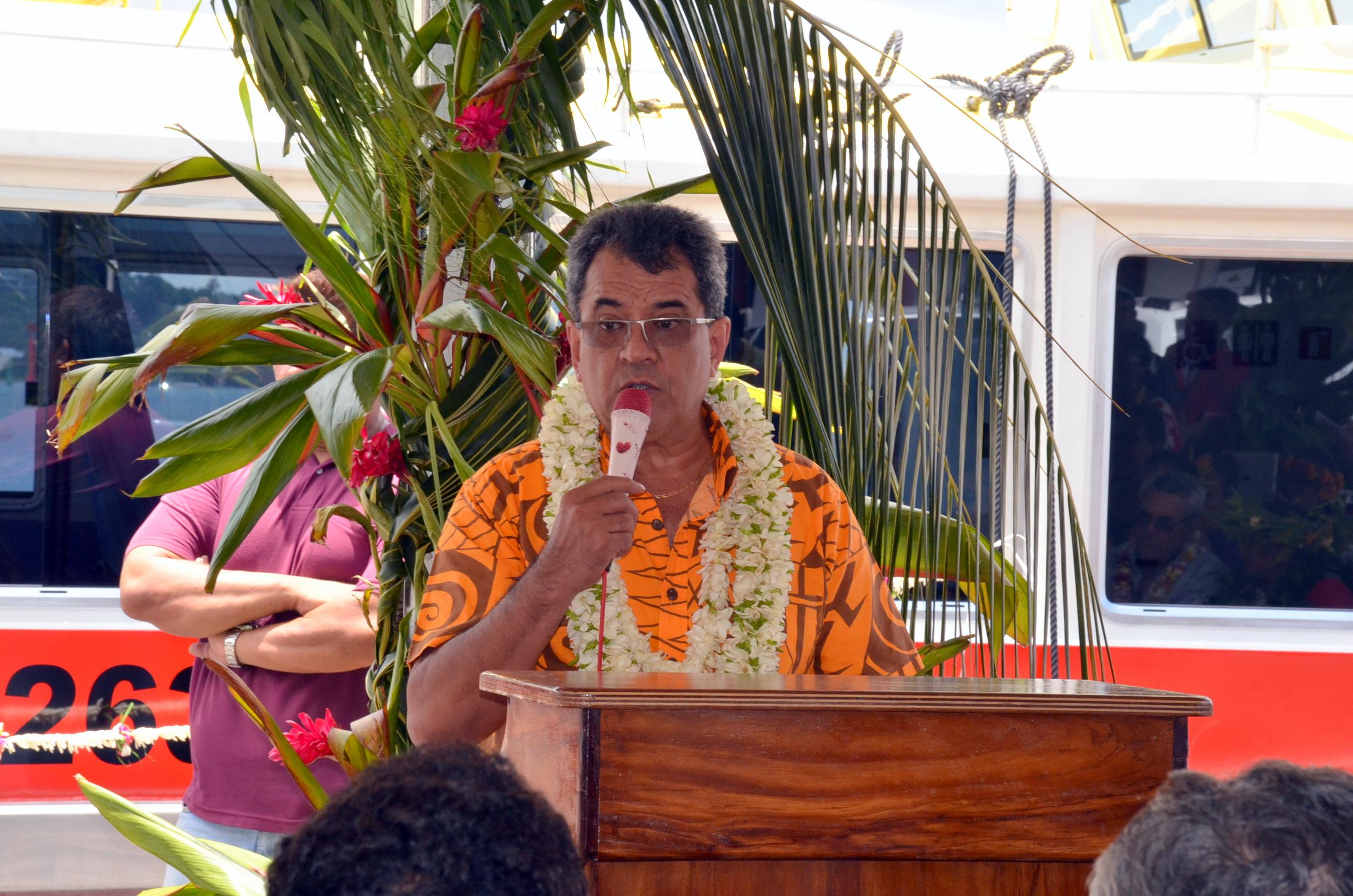 Lors de l'inauguration de la navette des Marquises du Sud, Edouard Fritch s'est insurgé face au projet de Collectivité à part pour les îles Marquises ©Tahiti-infos