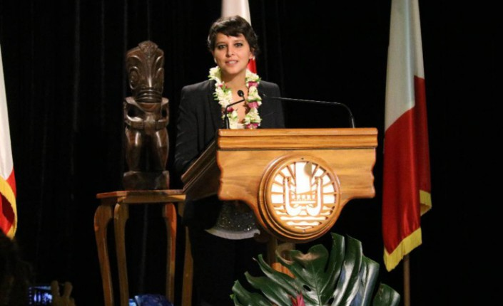 Discours de Najat Vallaud-Belkacem en Polynésie française ©Tahiti-infos