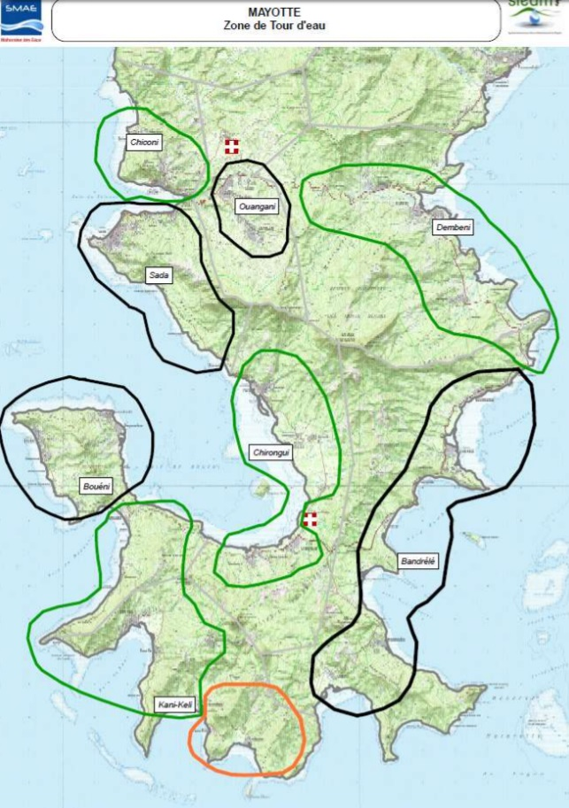 Un principe de trois zones a été dessiné à Mayotte. Lorsque l'eau est coupée dans une zone, les habitants peuvent s'approvisionner dans une autre zone ©Le Journal de Mayotte / SMAE
