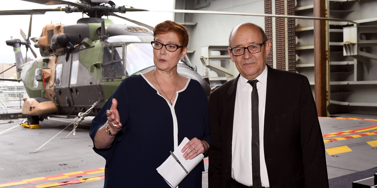 Jean-Yves Le Drian et son homologue australienne Marise Payne ©William West / AFP