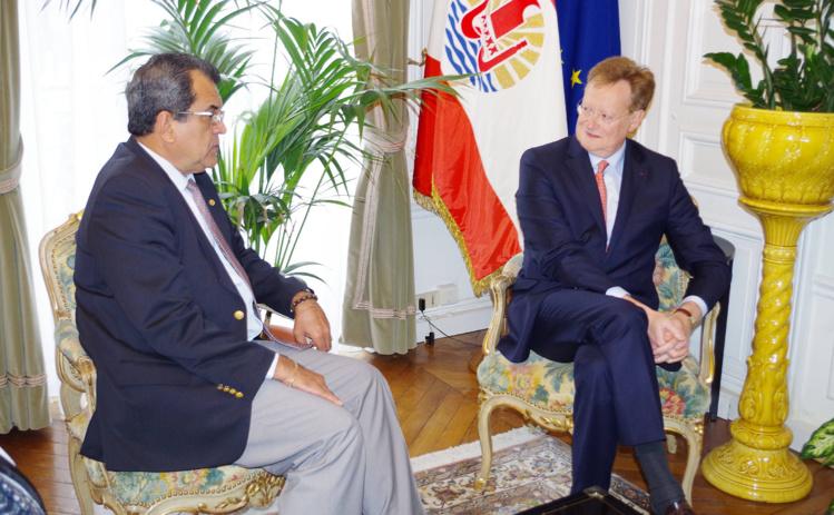 René Bidal, Haut-commissaire de la République en polynésie français eet le Président polynésien Edouard Fritch ©Tahiti-infos