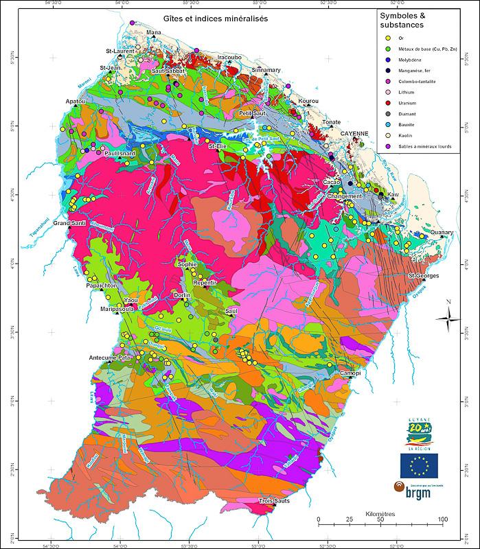 Carte des ressources minières en Guyane © BRGM